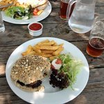 Tiger Inn food - very well done burger
