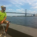 Thom, one of our guides, overlooking the Ben Franklin Bridge from the Race Street Pier