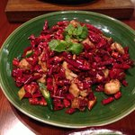 The chicken with chillies dish. Delicious chicken pieces in dried chilli.