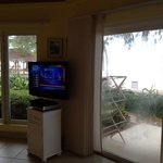TV between dining area and living area
