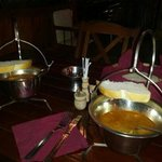 goulash soup served the traditional way in a steel cauldron