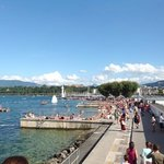 The beach on the lake Geneva