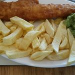 the award winning fish & chips with peas included with a drink
