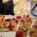 California flatbread. Bread is tough, tomatoes are canned and only a sprinkling of chicken. Came