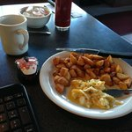 Delicious homestyle egg and exceptional hash browns.
