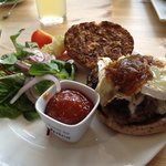 Brie and Caramelised Onion Homemade Burger