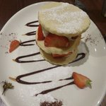 Shortbread tower of strawberries, chantilly cream