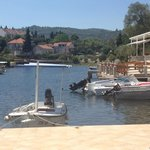 One of the boats you can hire moored to the sun-terrace - complete with sun-canopy