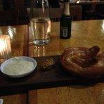 Bavarian pretzel, beer & cheddar fondue