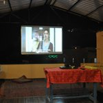 The fantastic roof top terrace with a Bollywood movie