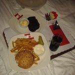 Chicken burger / warm choccy brownie & white choccy ice cream #LUSH