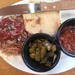 pulled pork with bbq beans and green beans at Bennett's