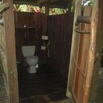 The toilet of our cabina's outhouse. The sink and shower are around the corner facing the jungle