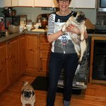 the owner, Roberta, with her sweet dogs