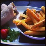 steak wrap and chips