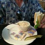 half sandwich and clam Chowder