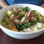 Caliche's poke bowl (comes with raw tuna,wife wanted hers seared)