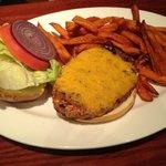 Veggie/Garden Burger with Sweet Potato Fries