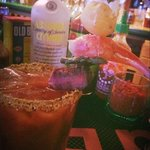 Surf&Turf Bloody Mary! And ya, that's a loaded mini baked potato on top...