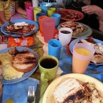 Family breakfast - happily crowded