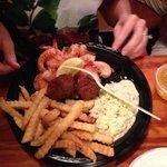 steamed shrimp, fries, and slaw