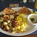 Homemade corn beef hash and eggs for breakfast