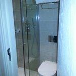 Clean and modern. Decent Shower.