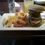 Italian burger with chips and onion rings