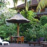 Hotel, Seite zum Pool / Garten