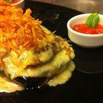 pork fillet with Gorgonzola sauce & potato flakes
