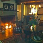 Guests love the fireplace in the Tavern