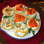Smoked fish toasts with herb cream cheese