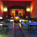 The lounge and stage at Hostel Tasso