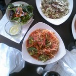 Dinner entrees and antipasto salad - yum