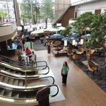 Atrium: Starbucks on left, Restaurant under Umbrellas