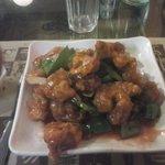 Pollo adobado con salsa agridulce