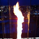 flaming toch light on the rooftop restaurant