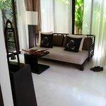 living area in the pool villa