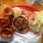 crab cake sandwich with extra onion rings