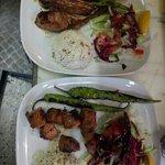 pirzola (lamb chops) and kuzu sis kebab (chunk of lamb on the skewers)