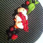 Strawberry ice cream and mousse with fresh fruits