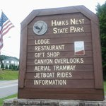 Welcome sign from Route 60 Hawks Nest WV