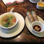 hot and sour soup and mackerel rolls