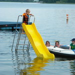 Nice swimming beach with raft and slide