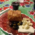 The Salami Sampler with cheese and olives