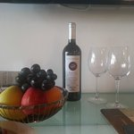 Wine and fruit waiting in our room