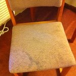 The chair had the same kind of stains as the rug.