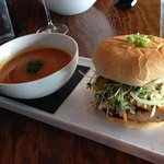 the special Opa sandwich with tomato bisque