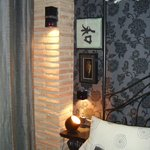 Bedside table and coloured light
