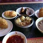 Stuffed taro, shrimp balls, stuffed eggplant, sesame balls, beef tripe, sumai, steamed bean curd